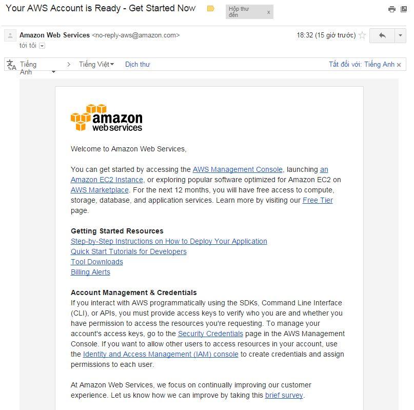 Thong tin Email dang ky thanh cong VPS Amazon mien phi