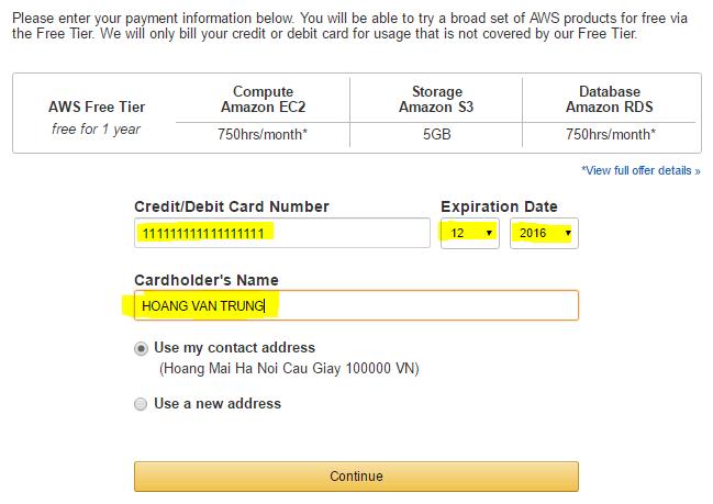 Thong tin thanh toan Visa Master VPS Amazon