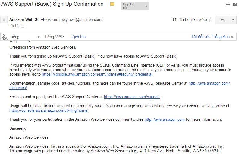 mail thong bao VPS Amazon