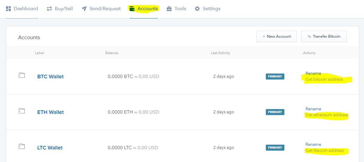 dia chi vi chinh coinbase bitcoin ether litecoin