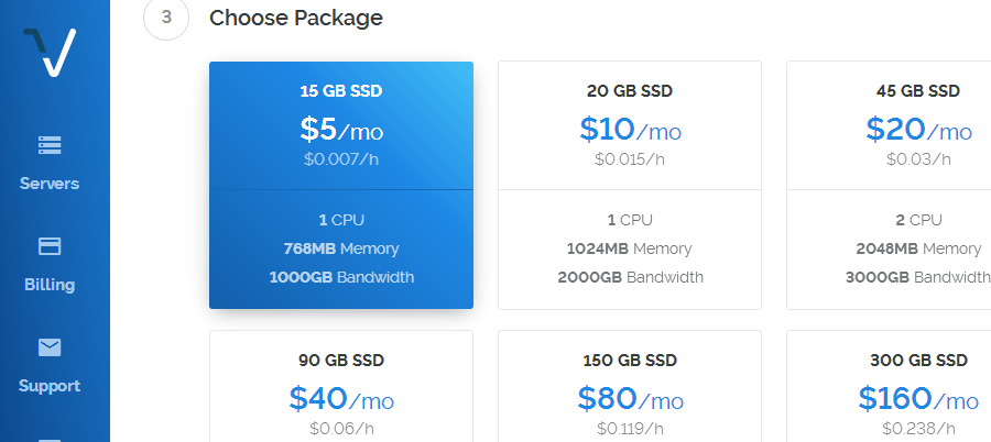choose package vps vultr