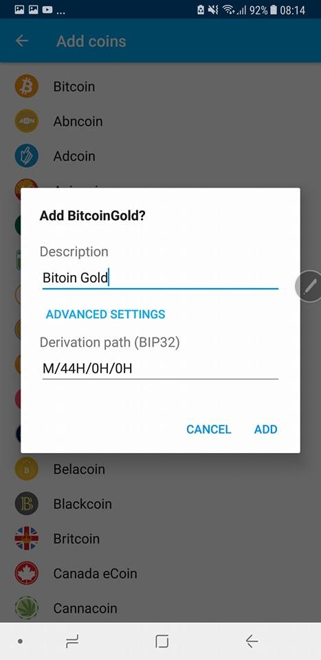 Nhap bitcoin gold Coinomi 2